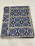Indian-Shoppers Handgesteppte Tagesdecke aus Baumwolle, blau, Kantha-Tagesdecke, Hippie, indische Steppdecke, wendbar, Patchwork, Kantha, Überwurf, Boho-Stickerei, Gudri