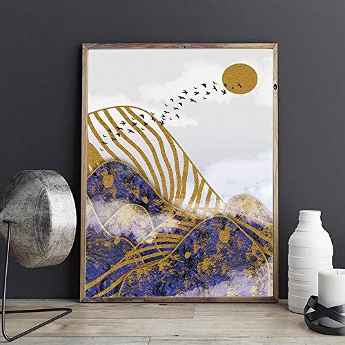 sanzangtang Affiches et gravures Dessin Oiseaux de Montagne Violet et Or sur Toile de Peinture de Jour 50x75cm