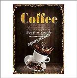 Jotora Coffe Slow Time Slow Life - Pintura de lata, diseño de hierro para pared, nostálgico, creativo, regalo, pintura decorativa, personalizada, minimalista, póster retro