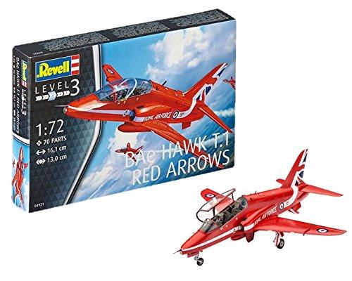 Revell Modellbausatz Flugzeug 1:72 - BAe Hawk T.1 Red Arrows im Maßstab 1:72, Level 3, originalgetreue Nachbildung mit vielen Details, 04921