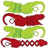 ArtCreativity Dinosaur Creature Reacher, Set of 4, Dino Grabber Toy for Kids, Durable Plastic Animal Grabbers, Dinosaur Birthday Party Favors, Treasure Box Prizes, Novelty Gag Gift, Red & Green