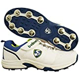 SG New Stroke 2.0 Full Metal Spikes Cricket Shoe, White/Lime/Royal Blue -Size 7