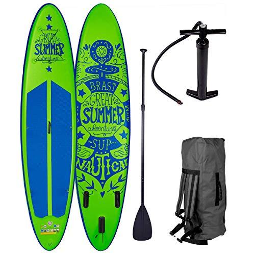 BRAST Stand up Paddle Gonflable Adulte Rigide Summer Vert 10'6 20psi 120kg Drop Stitch 15cm epaisseur kit Complet – Planche Gonflable Sup 320x76x15cm