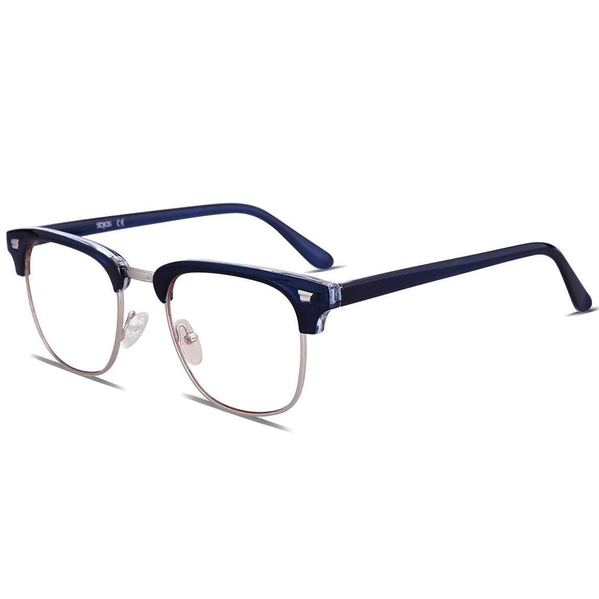 SOJOS Blue Light Blocking Computer Glasses Anti Ray Sleep Better for Women Men Twilight with Dark Blue Frame/Anti-blue Light Lens