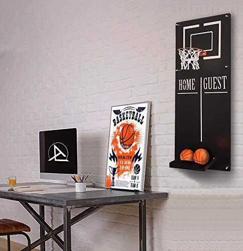 Ocartes - Aro de baloncesto para decoración de metal, aro de baloncesto montado en la pared con sala de deportes, canasta de baloncesto, oficina o sala de juegos