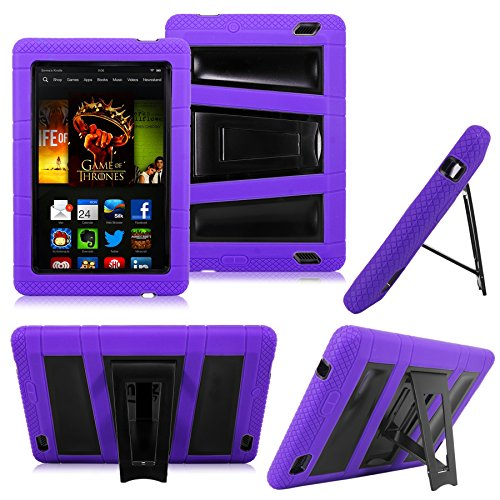 Cellularvilla Tm Combo Case Compatible with Amazon Kindle Fire HD 7 Inch 2013 Edition Hybrid Rugged Armor Shockproof Kickstand Dual Layer Protective Case Cover (Purple Black)