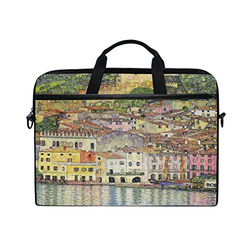 Ahomy 13.3-14 Inch Laptop Bag, Malcesine On Lake Garda - By Gustav Klimt Multifunctional Fabric Waterproof Laptop Case Briefcase With Shoulder Strap