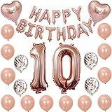 Kiwochy 10 cumpleaños decoración Oro rosa globo Equipo 10 cumpleaños fiesta globo número 10 Globo aluminio Feliz Cumpleaños guirnalda Globos 12'papel picado Globos 18' corazón Mylar Globos para chicas