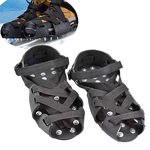 Cubierta antideslizante para zapatos de crampones 32 clavos antideslizantes para invierno nieve y acero inoxidable para pesca en hielo antideslizante, para nieve al aire libre, escalada en roca