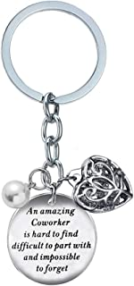BESPMOSP Coworker Leaving Heart Keychain an Amazing Coworker is Hard to Find Difficult to Part with and Impossible to Forget Goodbye Gifts for Best Coworker Colleague and Boss