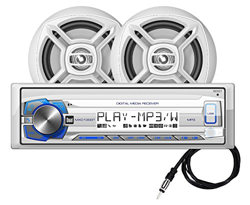 Dual Electronics MCP136BT Multimedia Single DIN Marine Stereo with Built-In Bluetooth & USB Port, Two 6.5 inch Dual Cone High Performance Marine Speakers & Long Range Marine Antenna