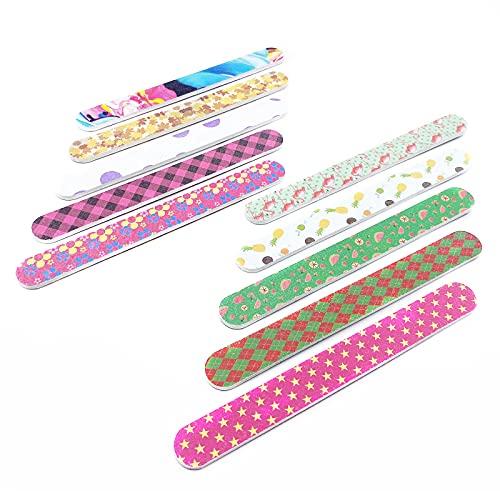 10 Stück Nagelfeile, für Fingernägel und Fußnägel, Doppelseitig Schleifpapier Nagelfeilen, Bunt