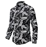 WUGDSQGH Hombre Floral Camisa Manga Larga Camisa Floral para Hombres Retro Camisa De Manga Larga Estampada Moda Otoño Vestido De Hombre Regalo Streetwear, Blanco 2, XL