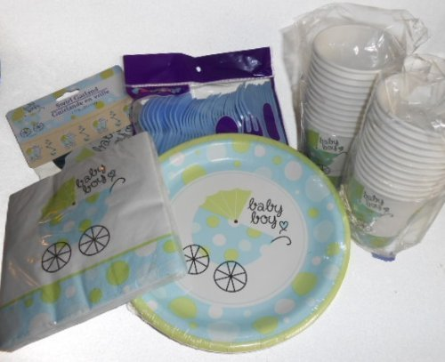 Baby Boy Shower Party Supplies - Plates, Napkins, Silverware, Cups & Decoration by Greenbrier