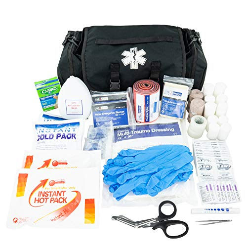 LINE2design Emergency Fire First Responder Kit - Fully Stocked First Aid Rescue Trauma Bag - EMS EMT Paramedic Complete Lifeguard Medical Supplies for Natural Disasters - Black
