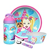 Zak Designs Jojo Siwa Dinnerware Set Includes Plate, Bowl, Water Bottle, and Utensil Tableware, Made of Durable Material and Perfect for Kids (Jojo Siwa, 5 Piece set, BPA-Free)