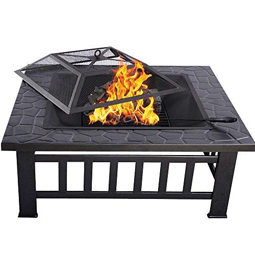 LARS360 Grillstelle Feuerschale 81x81x45cm Grillschale Feuerkorb mit Funkenfluggitter Multifunktional Feuerstelle Fire Pit für BBQ Garten Heizung