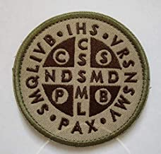 St. Benedict Cross Medal Military Patch Fabric Embroidered Badges Patch Tactical Stickers for Clothes with Hook & Loop (color1)