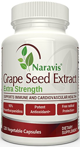 Naravis Grape Seed Extract - 400 mg - 120 Veggie Capsules - 95% Proanthocyanidins - All Natural - Non-GMO Antioxidant Supplement