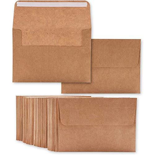 Kraft Paper Envelopes for Wedding Invitations (5.25 x 7.25 In, 50-Pack)