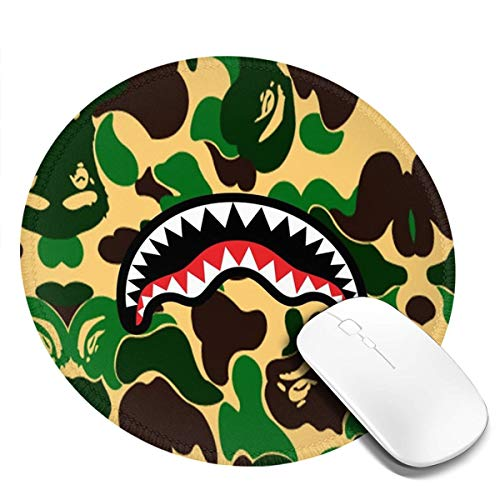 Ba-pe Shark Face Green Camo Mousepad Non-Slip Rubber Gaming Mouse Pad Mouse Pads for Computers Laptop 8.0x8.0 in