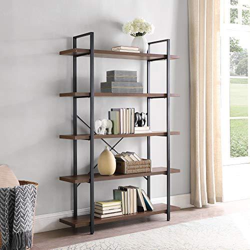BELLEZE 5 Tier Industrial Bookshelf Open Storage Organizer Etagere Book Shelf Wood and Metal Bookcases, Dark Walnut