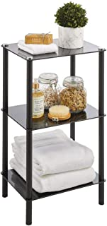 mDesign étagère d'angle pour petite salle de bain – étagère en métal peu encombrante avec 3 niveaux en verre – étagère sal...