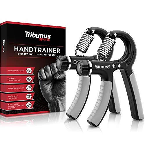 Tribunus sports Handtrainer, Unterarmtrainer [2er Set] Fingertrainer stufenlos verstellbar - Fingerhantel & Griffkraft Trainer zur Stärkung der Handmuskulatur - inkl. Beutel (2er Set schwarz/grau)