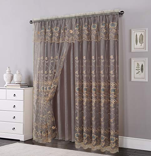 OPT. Brand. Double Layers Voile Sheer Embroidered Rod Pocket Window Curtain Panel and Valance. 81005 (Silver)