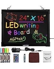 """AGPtek 60 cm × 40 cm LED schrijfbord verlicht uitwisbaar lichtbord tekenbord met afstandsbediening, prachtig lichtbord voor restaurants, bruiloften, Kerstmis, etalages - """"herbruikbaar"""