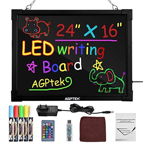 AGPtek 60 cm × 40 cm LED Schreibtafel beleuchtete löschbare Leuchttafel Zeichentafel mit Fernbedienung, wunderbares Leuchtshild für Restaurants, Hochzeit,Weihnachten, Schaufenster -
