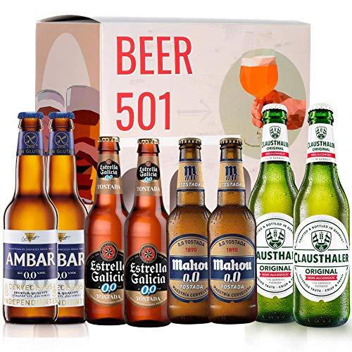 Pack de cerveza degustación BEER 501 - Caja Sin Alcohol: Ambar, Estrella Galicia, Mahou y Clausthaler. I La mejor selección de cervezas para regalar y disfrutar el momento.