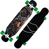 XXL Skateboard Completo 42 Pulgadas Drop-Through Freeride Longboard Skateboard 8 de Capa de Madera de Arce Monopatín Profesional para Principiantes Niños Niñas Jóvenes Adultos