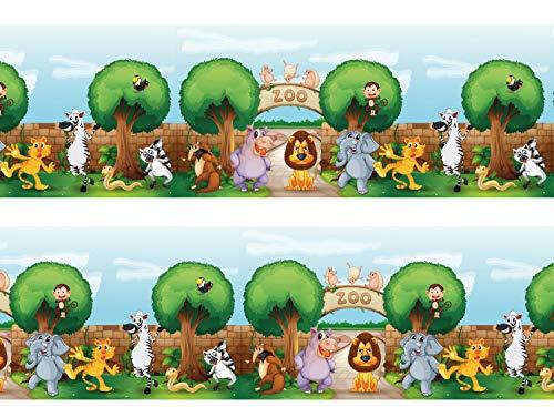 wandmotiv24 Bordüre Zootiere 260cm Breite - Vlies Borte Tapetenbordüre Bordüren Borde Wandborde Kinder Tiere Löwe M0016