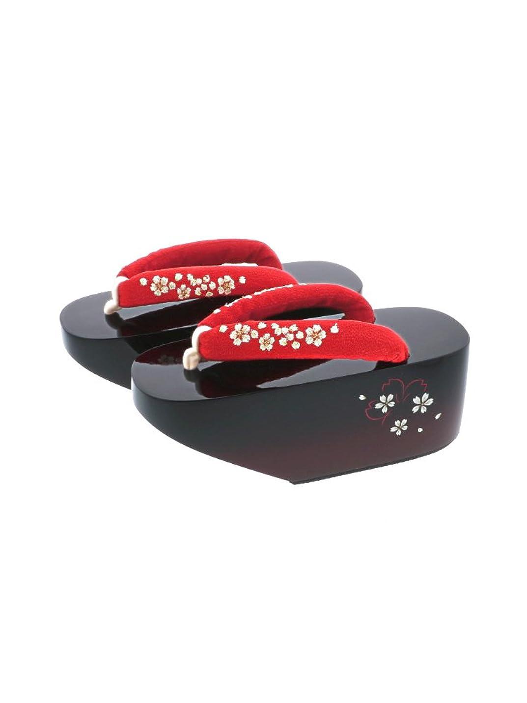 野な付属品アッパー[ 京都きもの町 ] 舞妓さんみたいな おこぼ こっぽり ぽっくり 赤×桜 刺繍