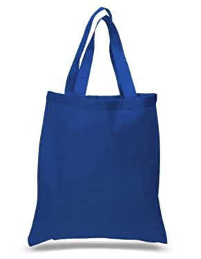 Pack Of 24 Blank Cotton Tote Bags Eco Friendly Reusable Grocery Shopping MultiPurpose (Royal)