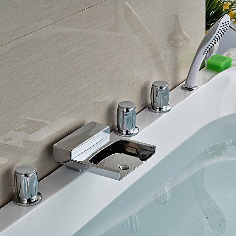 Montiert Badewanne Wasserfall Armatur Badewanne Armatur Wasserhahn 5 Stück für Badezimmer Badewanne in Chrom