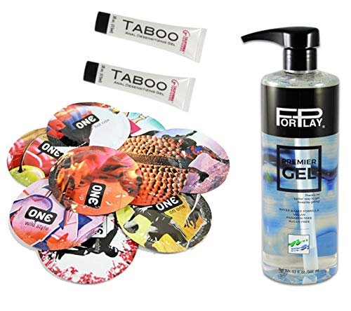 Forplay Premier Water-Based Formula Personal Lubricant 17 Oz, 2 X Taboo & 1 Pack of 20 ONE Condoms Variety