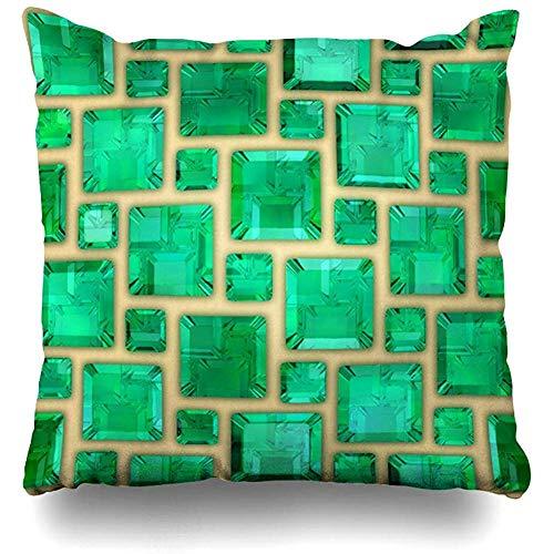 zjipeung Throw Pillows Covers Green Gemstone Emeralds Stone Brilliant Home Decor Pillowcase Square Size 18' x 18' Cushion Case