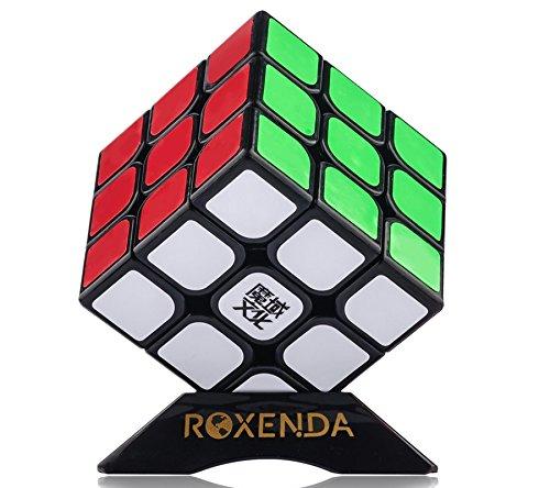ROXENDA Moyu Aolong V2 3x3 Speed Cube, Profesional Cubo de Velocidad 3x3 - Giro Fácil y Juego Suave para Principiantes y Profesionales, con Soporte de Cubo Negro (Black)
