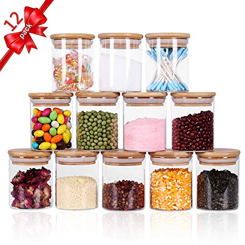 Tzerotone Glass Jars Set, Spice Jars with Wood Airtight Lids and Labels