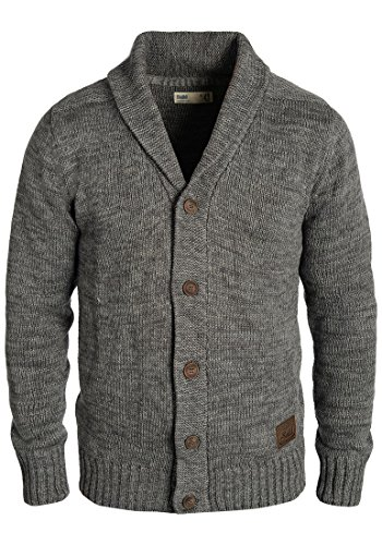 !Solid Philip Herren Strickjacke Cardigan Grobstrick Winter Pullover mit Schalkragen, Größe:L, Farbe:Dark Grey (2890)
