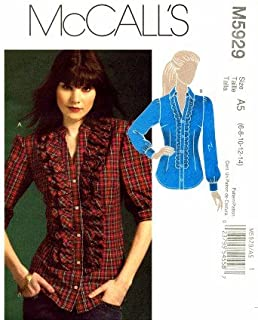 McCall's 5929 Sewing Pattern Misses Shirts Tuxedo Ruffle Size 6 - 14