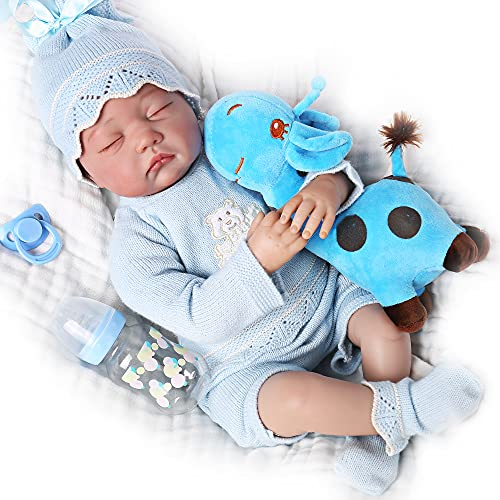 CHAREX Lifelike Reborn Baby Dolls Boy Sleeping 22 Inch Realistic Newborn Baby Dolls That Look Real Weighted Silicone Baby Doll with Toy Accessories Gifts for Kids Age 3+