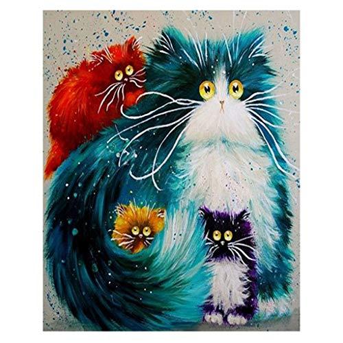 Aoixbcuroc Zestaw do malowania według liczb z płótna, instrukcja, haczyk, pędzel, farby akrylowe dla dzieci i dorosłych początkującego — kot Colorfule