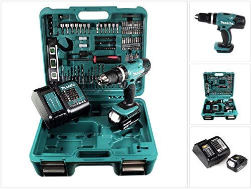 Makita DHP 453 SFTK Akku Schlagbohrschrauber 18V 42Nm + 1x Akku 3,0Ah + Ladegerät + 101tlg. Zubehörset + Koffer