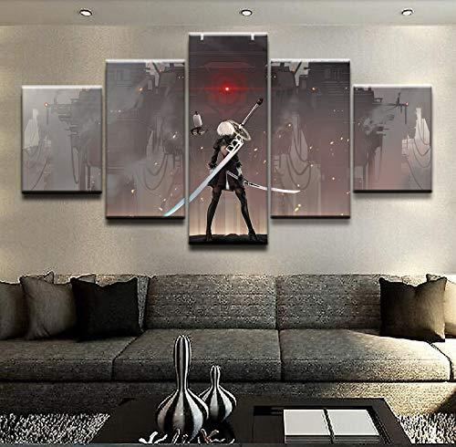 HY.bohu Wanddekoration Moderne HD Gedruckt Malerei Leinwand Home Dekorative Schlafzimmer 5 Panel Automaten Landschaft Poster Rahmen Modulare Wandbild