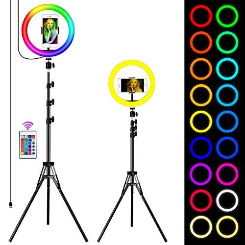 Queta Aro de Luz Trípode LED, Anillo de Luz 7 Colores RGB de 10' 2 Modo 10 Brillo Ajustable con Control Remoto Inalámbrico para Selfie Fotografía Youtube Maquillaje para Móvil, Tripode Ajustable 1.7m