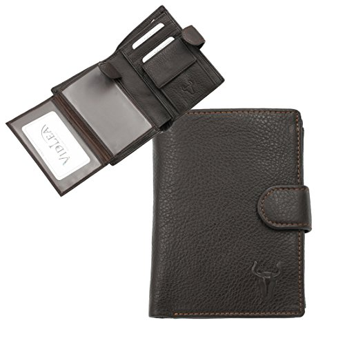 Vidlea Mens Leather Trifold Wallet Classic Brown Leather Snap Purse
