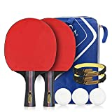 YXDDG Raquette de Ping Pong Set de Tennis de Table Pas Cher Competition Pro pour Les Adolescents Et Les Débutants 2 Raquettes de ping-Pong + 3 balles + 1 Sac de Rangement,RedC